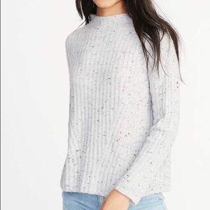 Old Navy Mock Neck Rib Knit Sweater (Marled Grey)